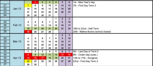 School Calendar T2
